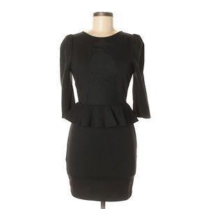 SRETSIS Black Knit Bow Peplum Party Dress